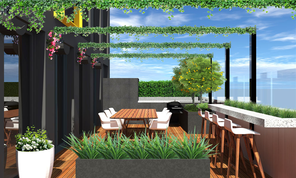 rooftop garden drawings and design