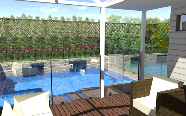 3d image of a landscape pool deign in a melbourne backyard