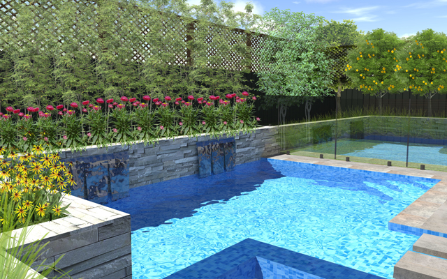 award winning pool design showing 3D drawing melbourne
