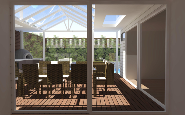 3d design of alfresco area looking out to swimming pool melbourne